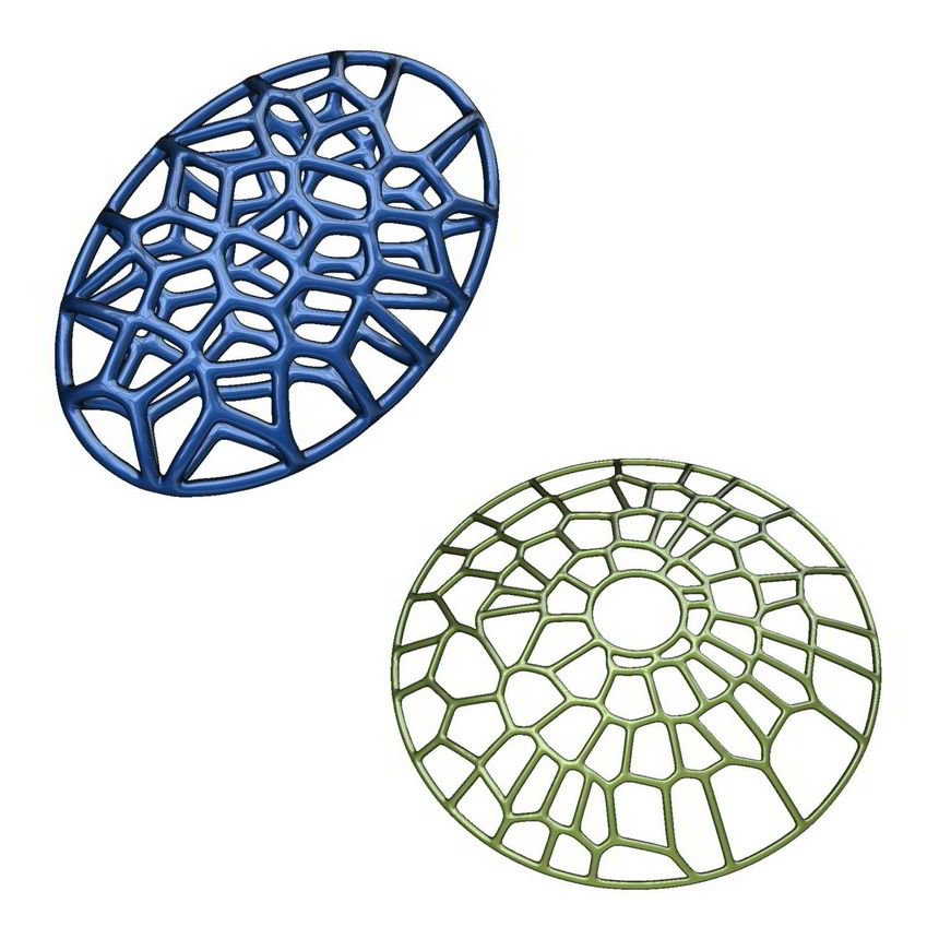 3D models of pendants with Voronoi pattern