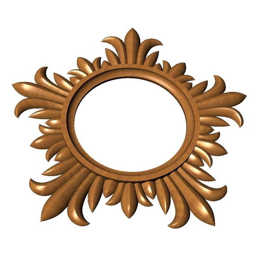 Round carved frame 3D model
