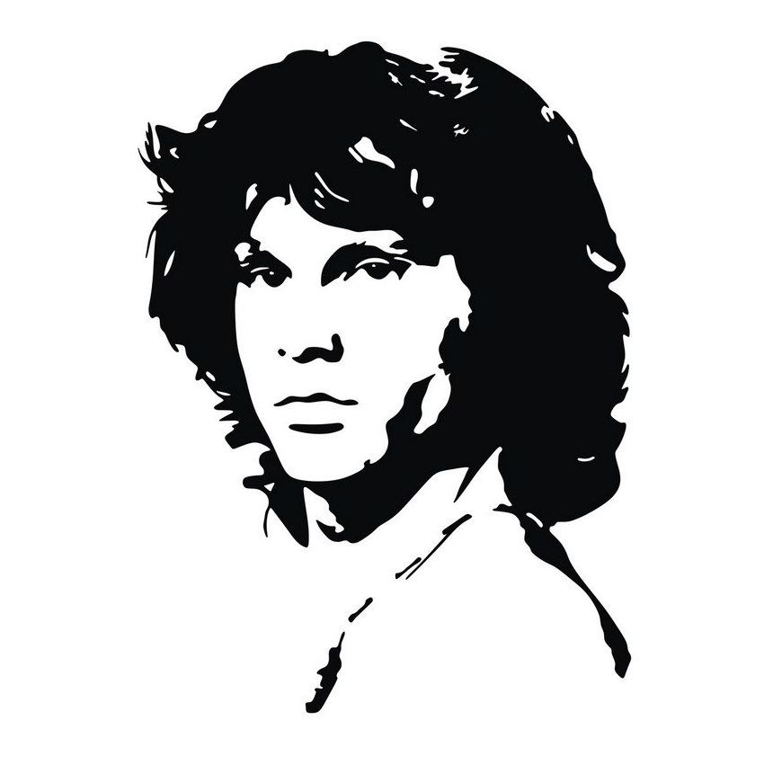 Jim morrison vector portrait black and white
