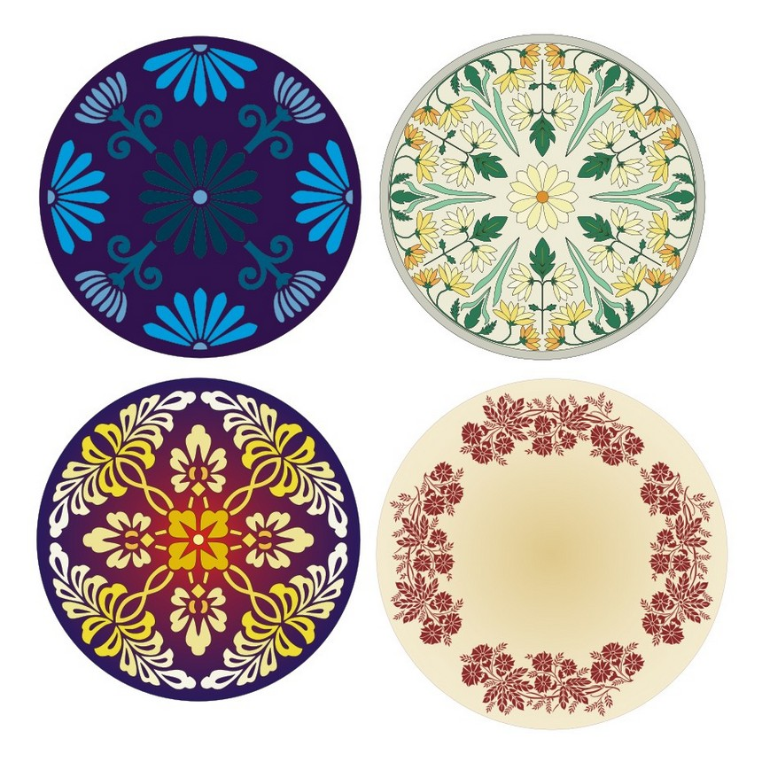Round floral patterns
