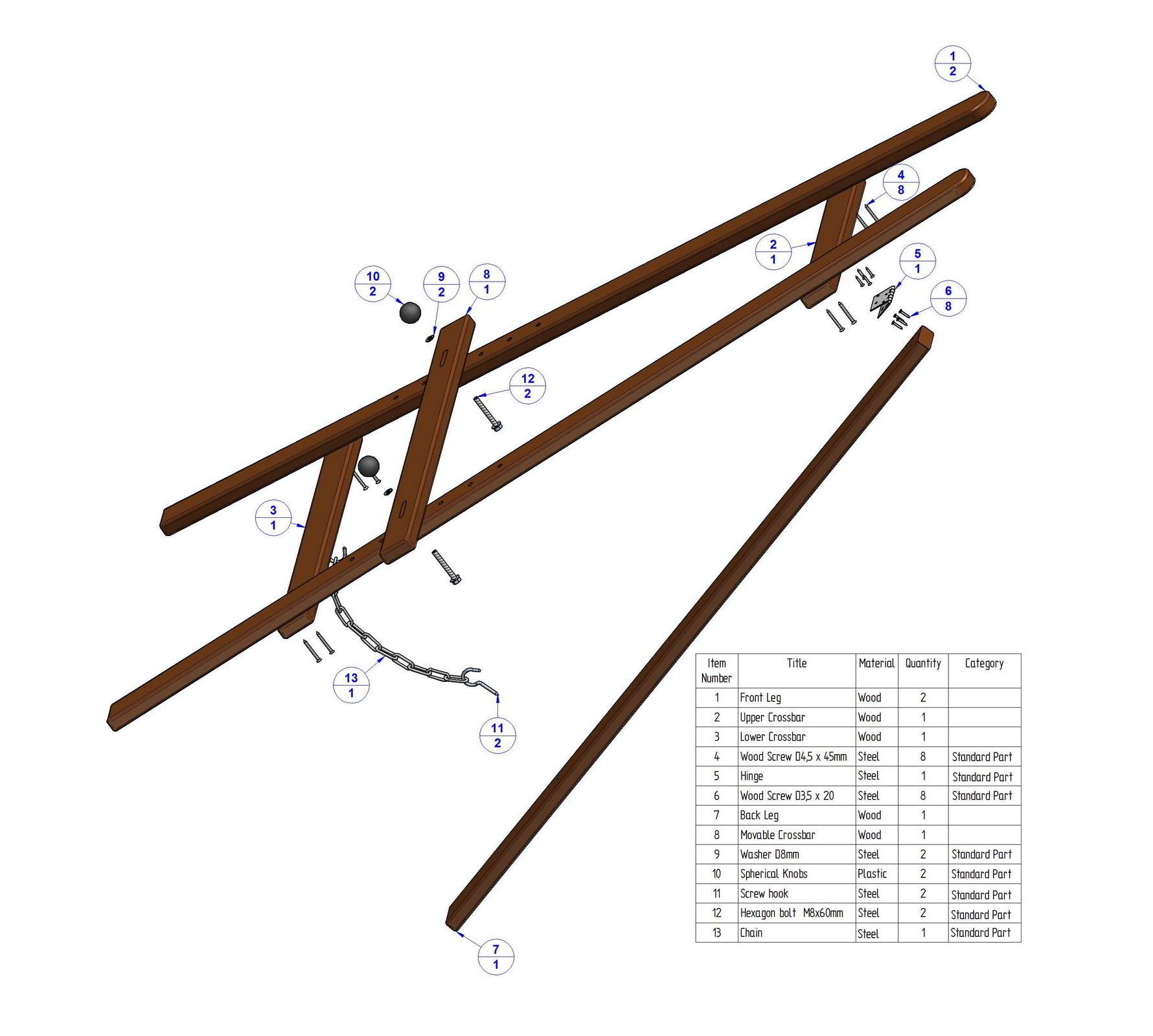 Woodwork diy wood easel pdf plans A frame blueprints
