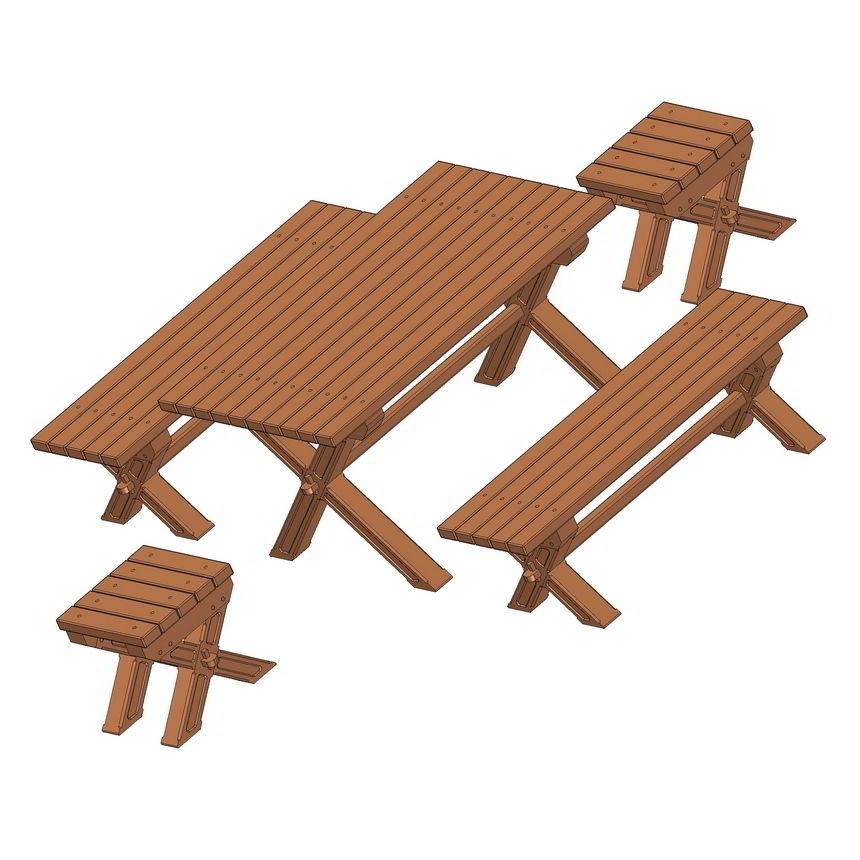 Backyard Table And Bench Set Plan
