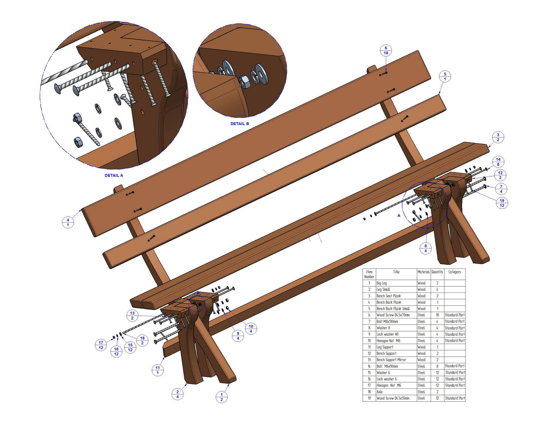 Free Wood Park Bench Plans