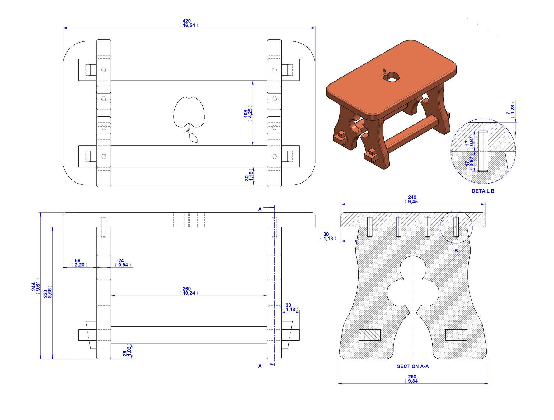 Rustic stool plan - Assembly drawing
